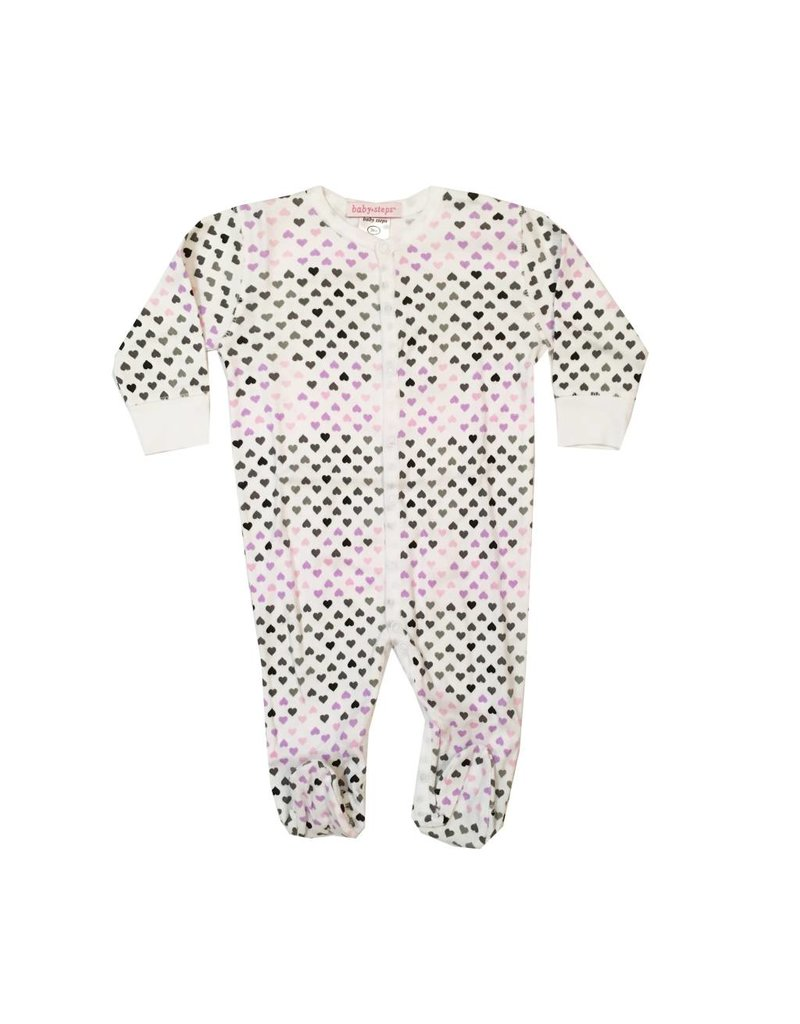 Baby Steps Lilac Chromatic Hearts Footie