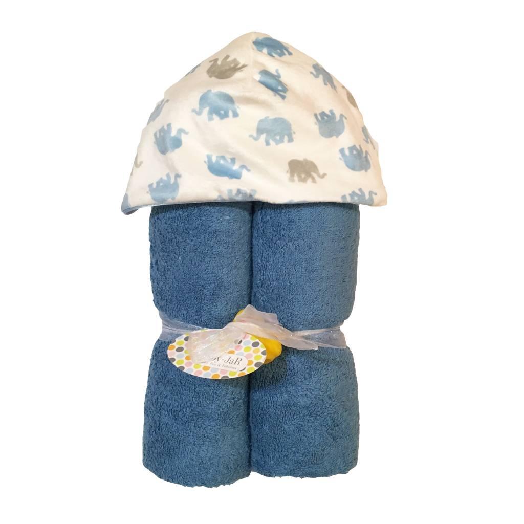 Baby Jar Blue Elephants Hooded Towel