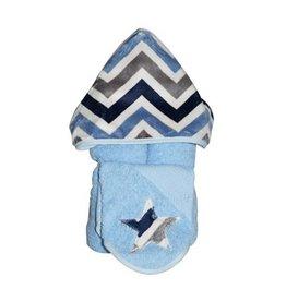 Tickle Toes Denim Chevron Hooded Towel