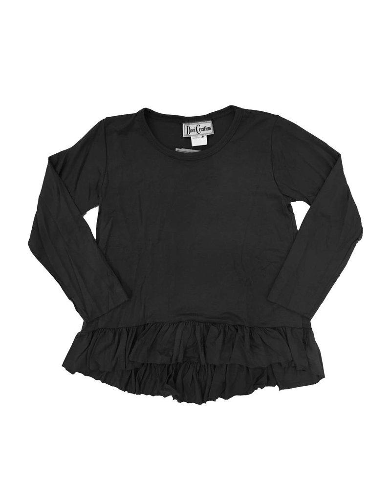 Dori Creations Black Infant L/S Ruffle Top
