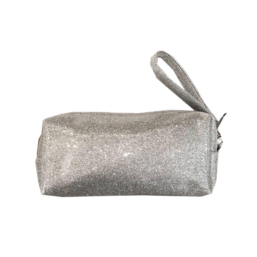 Bari Lynn Silver Glitter Pencil Case