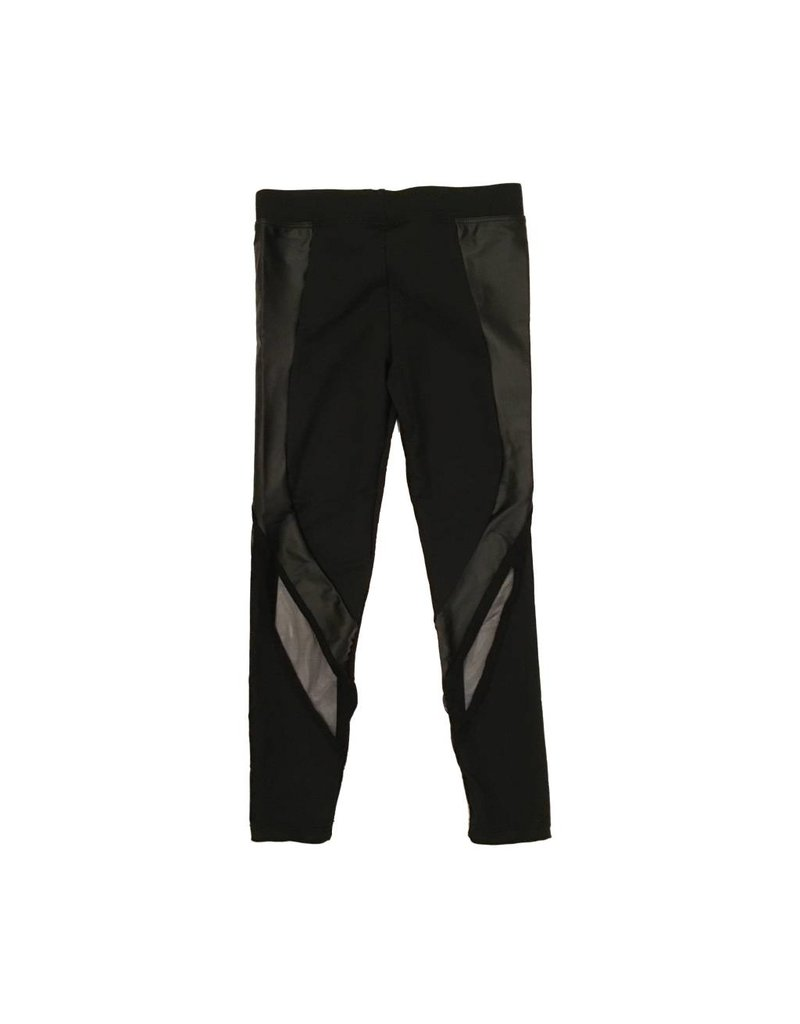 Dori Creations Black Pleather Mesh Legging