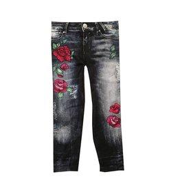 Malibu Sugar Distressed Denim & Roses Legging