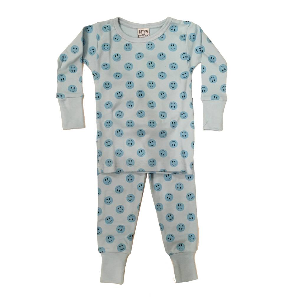 Baby Steps Blue Smiley PJ Set