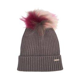 Bari Lynn Grey Pom Pom Hat