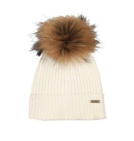 Bari Lynn Off-White Pom Pom Hat