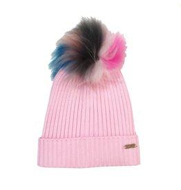 Bari Lynn Light Pink Pom Pom Hat