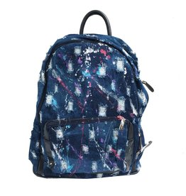 Bari Lynn Denim Splatter Backpack