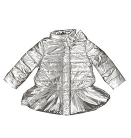 Mack & Co Silver Quilted Peplum Coat