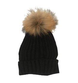 Bari Lynn Natural Pom Pom Hat