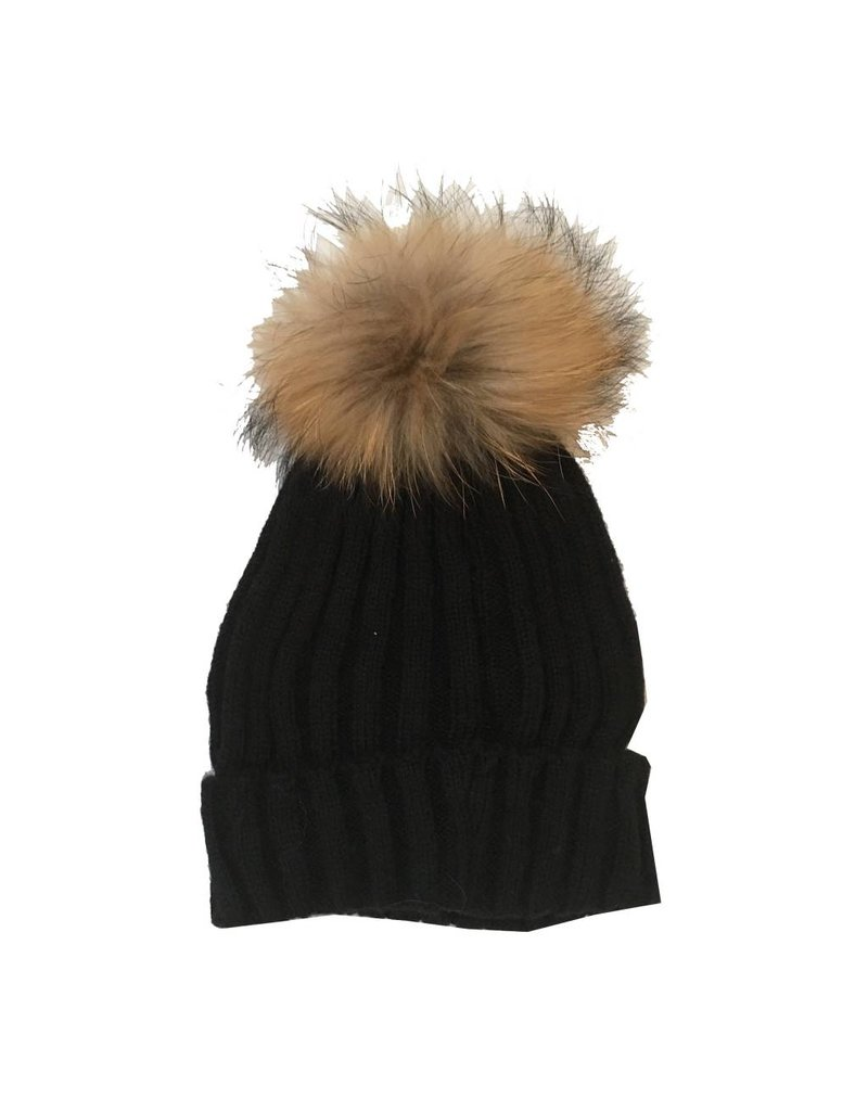 Bari Lynn Natural Pom Pom Hat