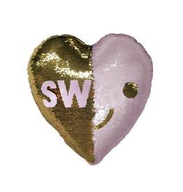 SWAK Heart Reversible Sequin Pillow