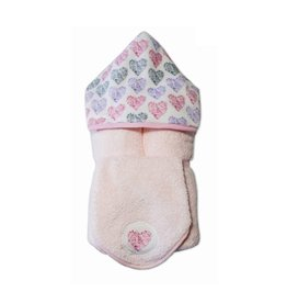 Tickle Toes Multi Hearts Hooded Towel