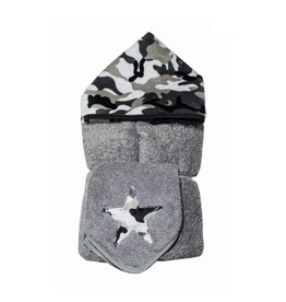 Tickle Toes Grey Camo Hooded Towel
