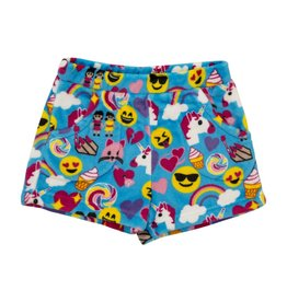Candy Pink Blue Emoji Plush Shorts