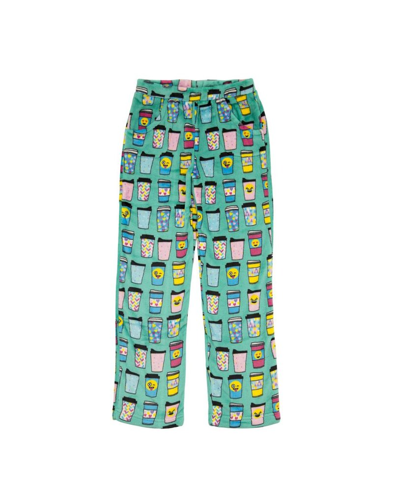 Candy Pink Coffee Cups Plush Pant