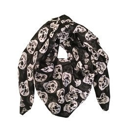 Black Sheer Skull Scarf