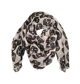 White Sheer Skull Scarf
