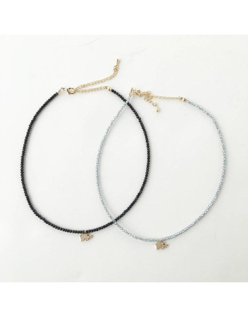 Beaded Elephant Choker Necklace