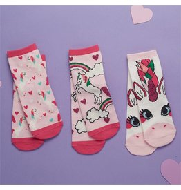 Unicorn Sock Set 3pc. Kids Shoe Size 4-8