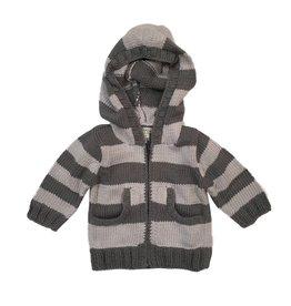 2 H Knits Grey Stripe Hooded Zip Sweater