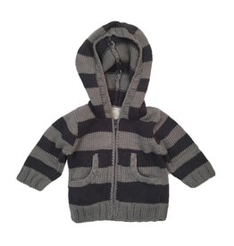 2 H Knits Charcoal Stripe Hooded Zip Sweater