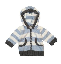 2 H Knits Blue Stripe Hooded Zip Sweater