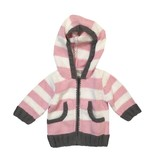 2 H Knits Pink Stripe Hooded Zip Sweater