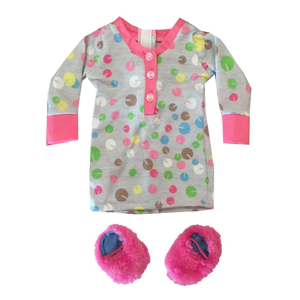 Doll Nightgown & Slipper Set