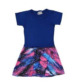 Dori Creations Pink & Blue Stars Short Sleeve Dress