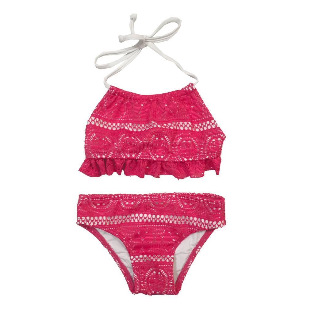 Coral Reef Ruffle Top Lace Bikini