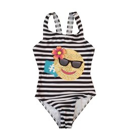 Limeapple Striped Emoji 1pc Swimsuit