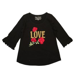 Small Change Love Roses Bell Sleeve Top