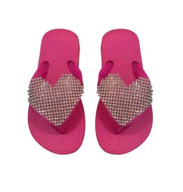 Planet Sea Pink Crystal Heart Flip Flop