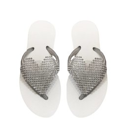 Planet Sea White Crystal Heart Flip Flop