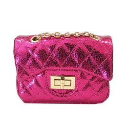 Hot Pink Metallic Quilted Mini Purse