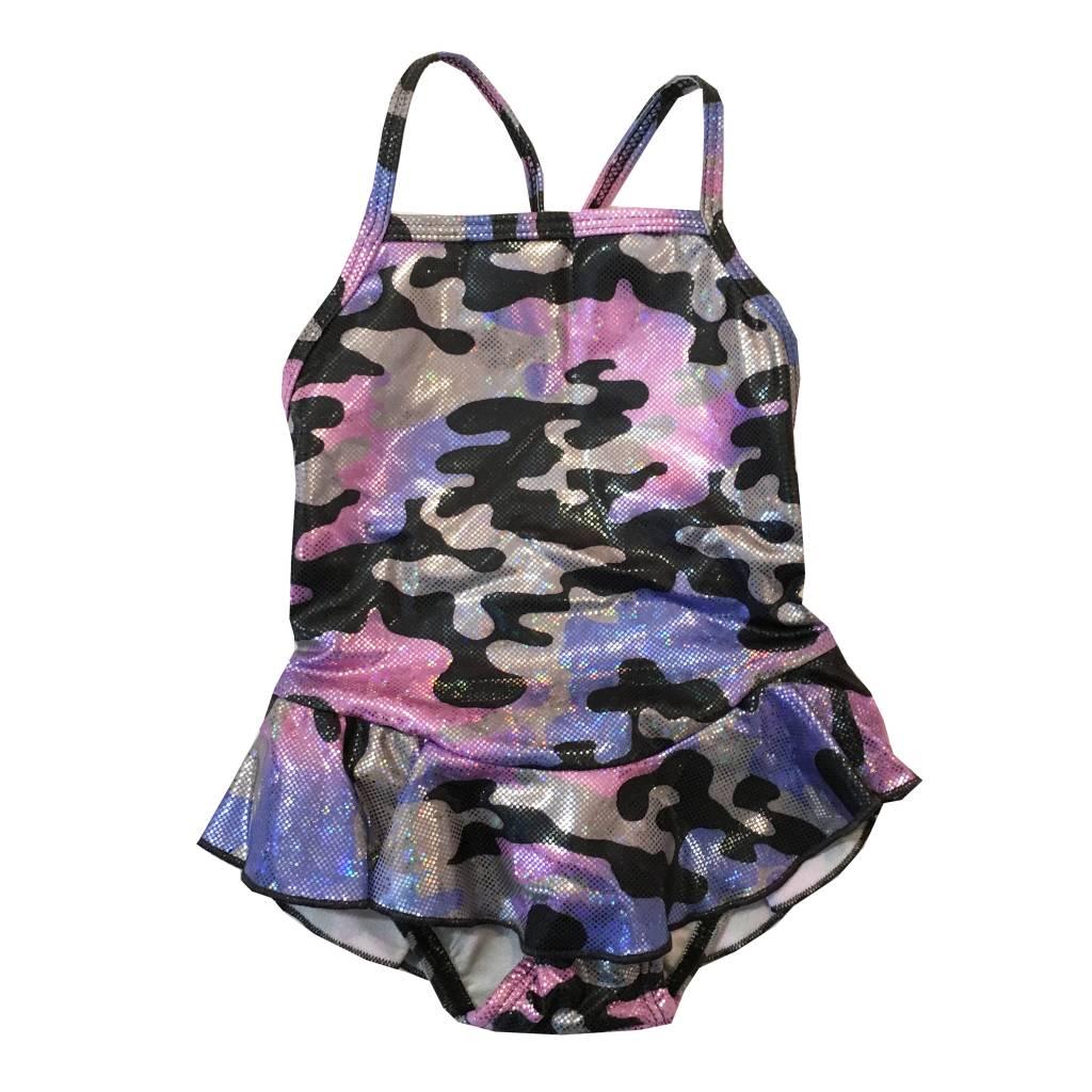 Cruz Sparkle Camo Ruffle 1pc Swimsuit