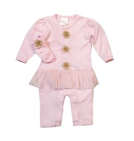 Too Sweet Gold Glitter Dot Peplum Outfit