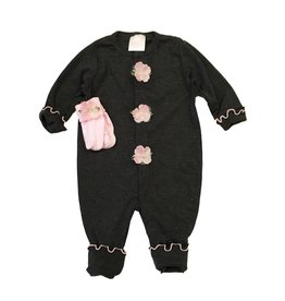 Too Sweet Charcoal Outfit with Pink Flowers