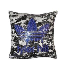 Custom Blue Camp Reversible Sequin Pillow