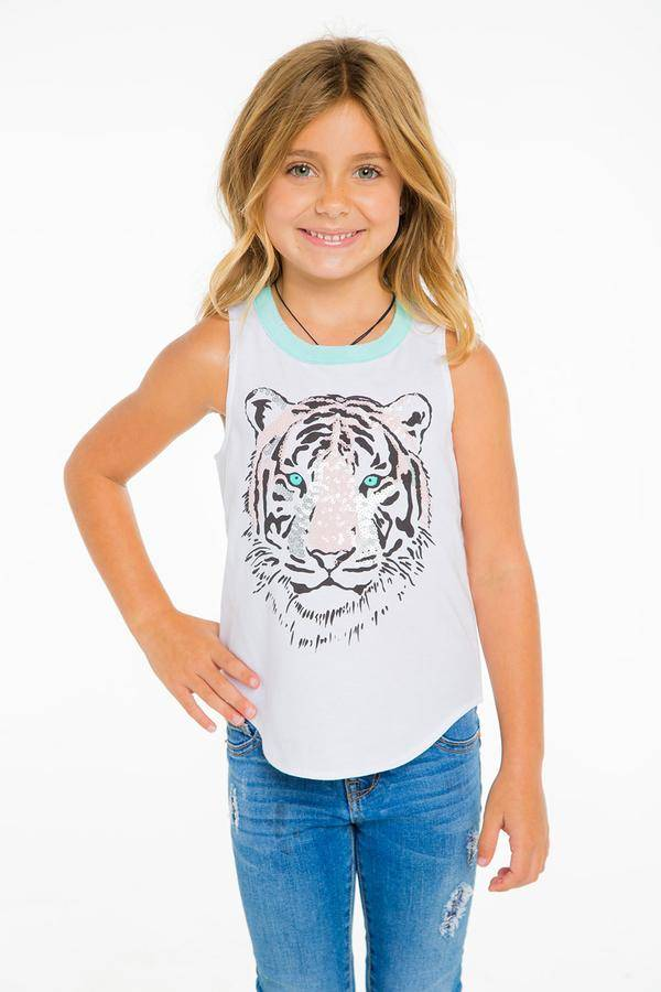 Chaser Sequin Tiger Tank