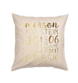 Custom Birth Announcement Pillow Natural
