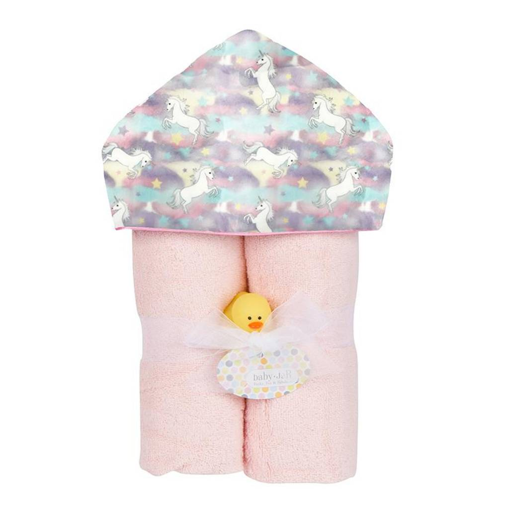 Baby Jar Pastel Unicorns Hooded Towel