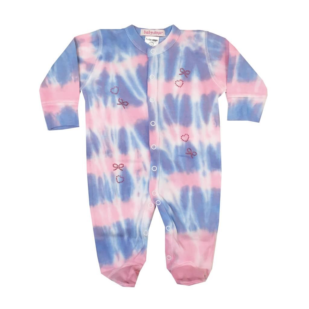 Baby Steps Tie Dye Bows Footie