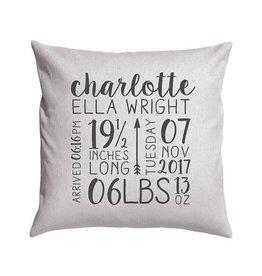 Custom Birth Announcement Pillow Light Grey