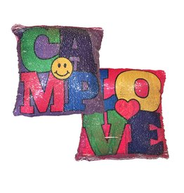 Love Camp Reversible Sequin Pillow