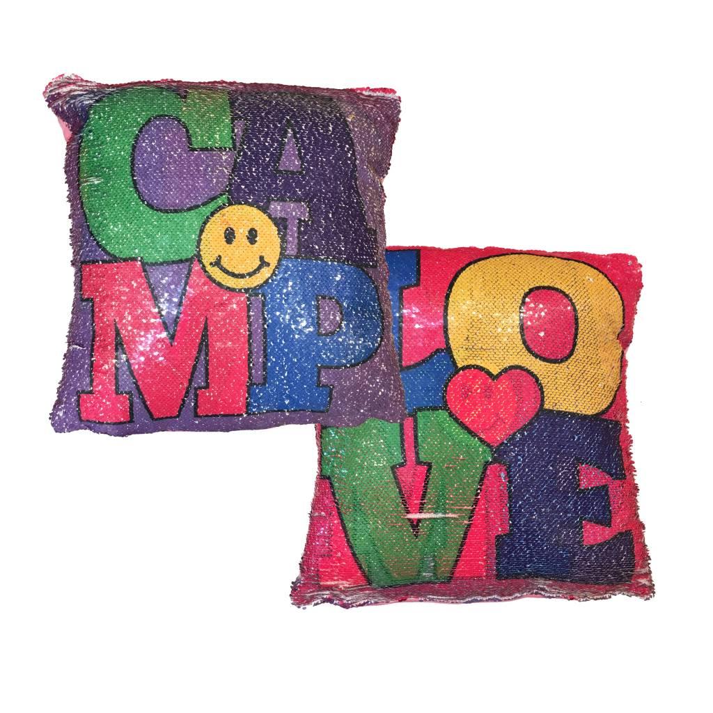 Love Camp Reversible Sequin Pillow