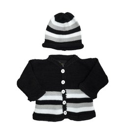 Gita Black & White Stripe Sweater Set
