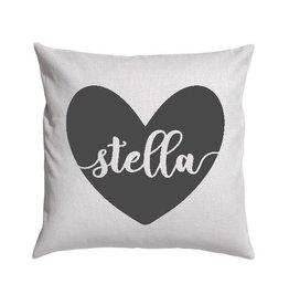Light Grey Heart Name Pillow