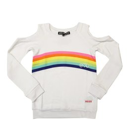 Peace Love World Cold Shoulder Rainbow Sweatshirt